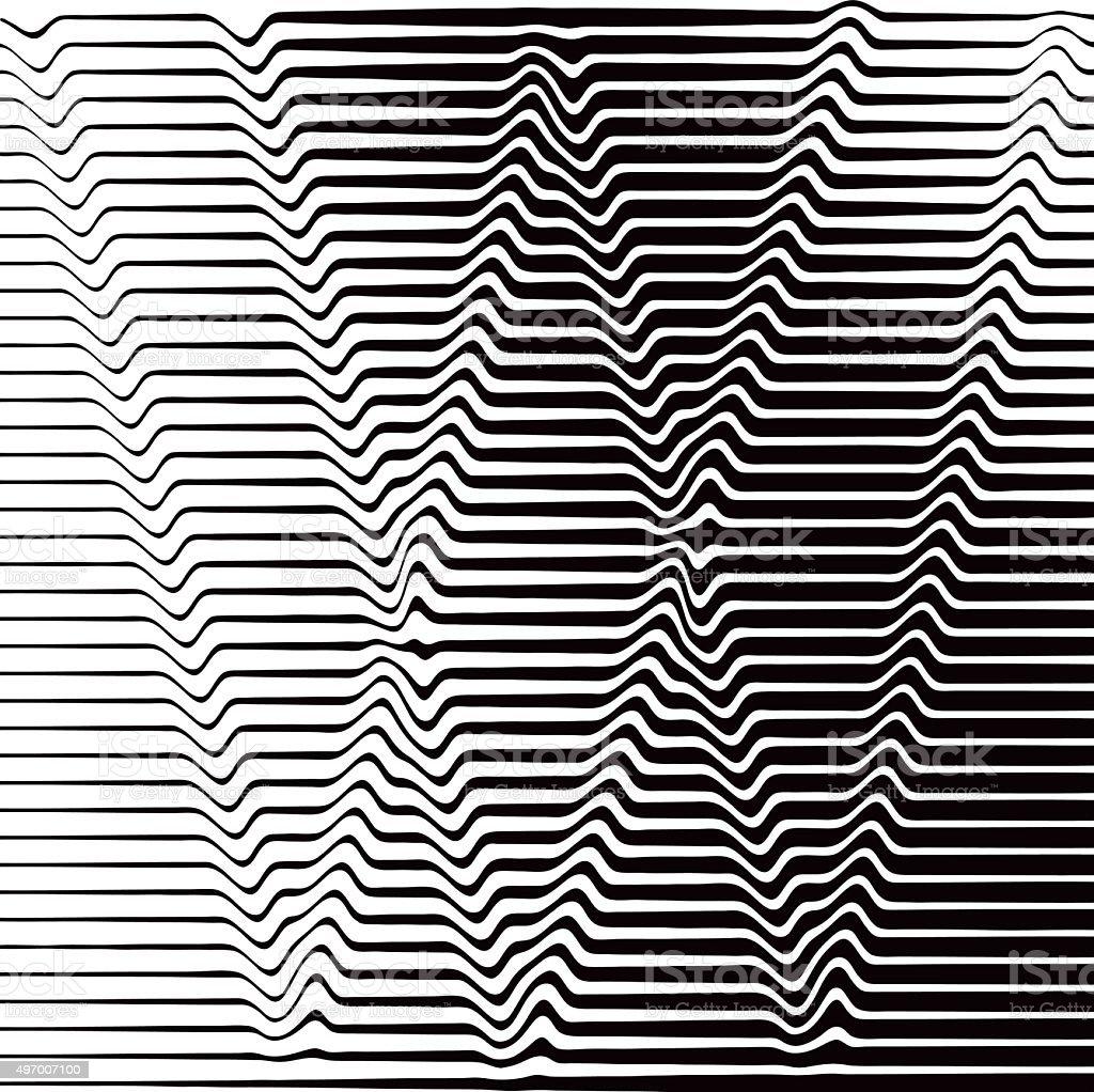 Pop Art Halftone Pattern of Rippled, Wavy Lines Forming W vector art illustration
