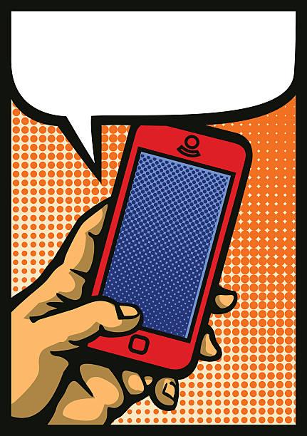 Pop art hand holding smartphone comic book style vector illustration vector art illustration