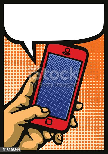 Pop Art Hand Holding Smartphone Comic Book Style Vector Illustration Stock Vector Art & More Images of 1960-1969 516556344
