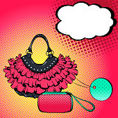Vector bright colored background in Pop Art style. Illustration with women's handbags and speech bubble. Retro comic style