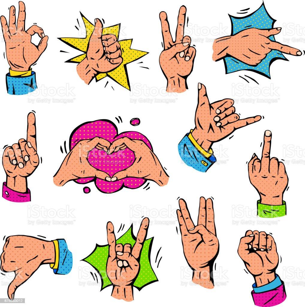 Pop Art Hands Fingers Showing Gesture And Human Symbols Hands
