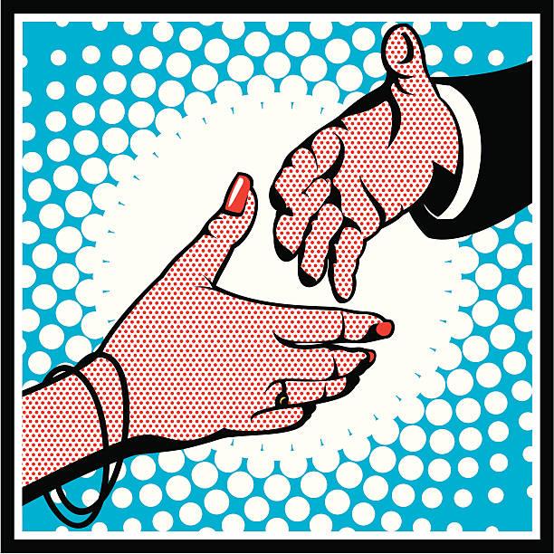 Pop Art Handshake vector art illustration