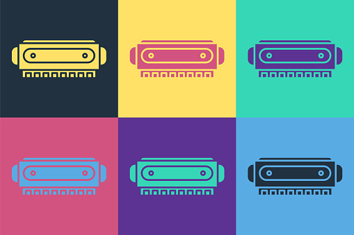Pop art Harmonica icon isolated on color background. Musical instrument. Vector Illustration
