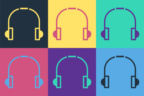 Pop art Headphones icon isolated on color background. Earphones. Concept for listening to music, service, communication and operator. Vector Illustration Pop art Headphones icon isolated on color background. Earphones. Concept for listening to music, service, communication and operator. Vector Illustration switchboard operator vintage stock illustrations