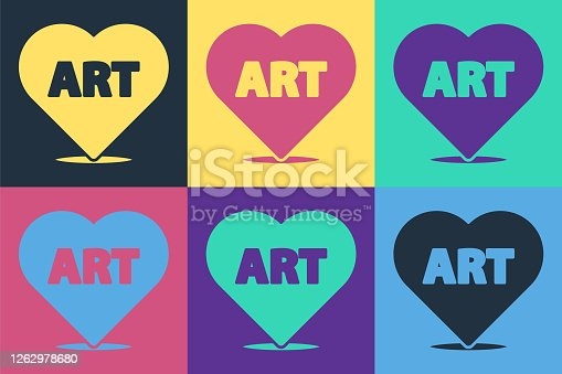 istock Pop art Heart with text art icon isolated on color background. Vector Illustration 1262978680