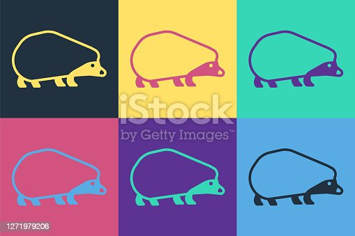 Pop art Hedgehog icon isolated on color background. Animal symbol. Vector.