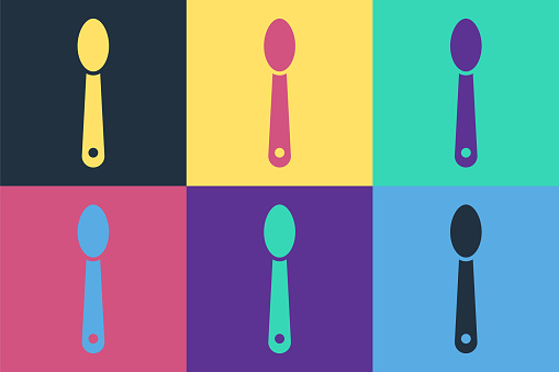 Pop art Heroin in a spoon icon isolated on color background. Concept of drug addiction and dependence from the narcotic. Junkie lifestyle. Vector Illustration