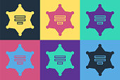 Pop art Hexagram sheriff icon isolated on color background. Police badge icon. Vector Illustration