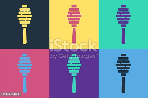 Pop art Honey dipper stick icon isolated on color background. Honey ladle. Vector Illustration