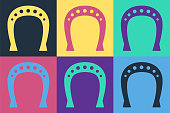 Pop art Horseshoe icon isolated on color background. Vector Illustration