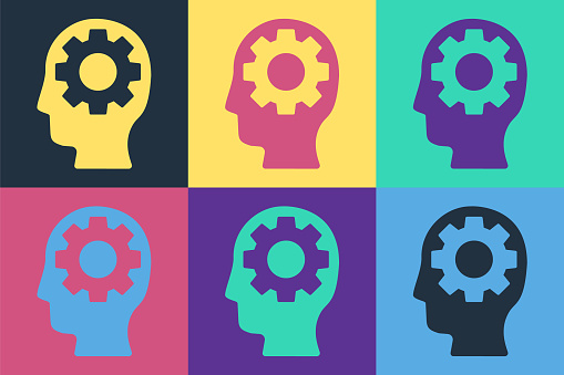 Pop art Human head with gear inside icon isolated on color background. Artificial intelligence. Thinking brain. Symbol work of brain. Vector Illustration