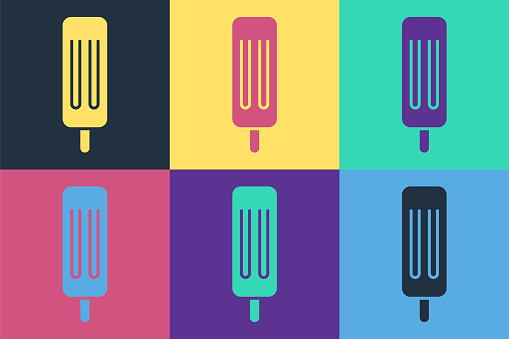 Pop art Ice cream icon isolated on color background. Sweet symbol. Vector Illustration