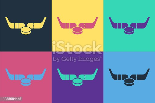Pop art Ice hockey sticks and puck icon isolated on color background. Game start. Vector Illustration