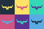 istock Pop art Ice hockey sticks and puck icon isolated on color background. Game start. Vector Illustration 1255984445
