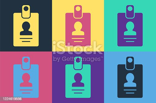 istock Pop art Identification badge icon isolated on color background. It can be used for presentation, identity of the company, advertising. Vector Illustration 1224619556