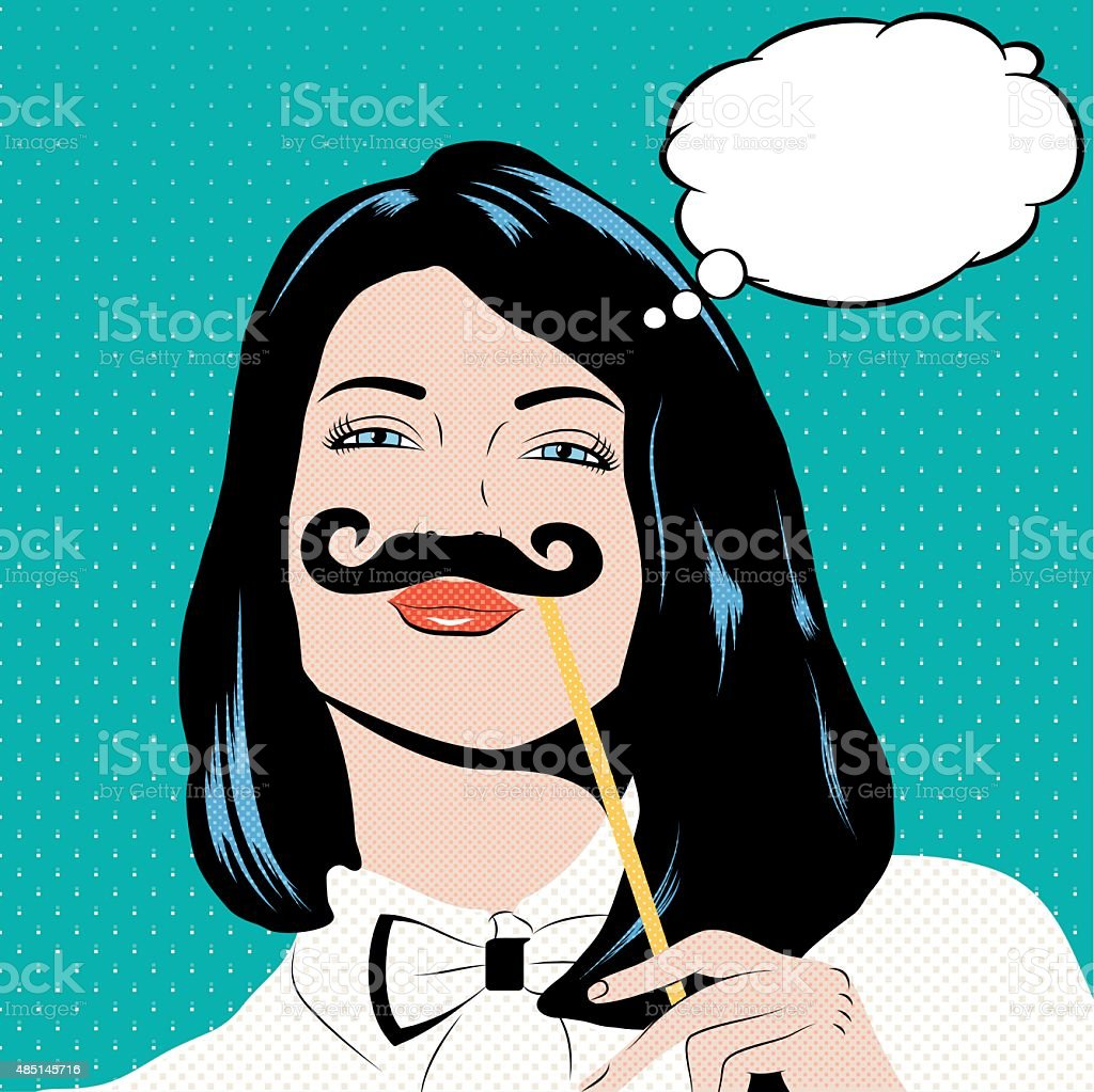 Pop art illustration with girl holding mustache. vector art illustration
