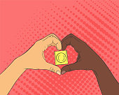 Pop art image of hands in the shape of the heart. Condom inside arms sign.