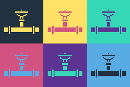 Pop art Industry metallic pipe and valve icon isolated on color background. Vector Illustration