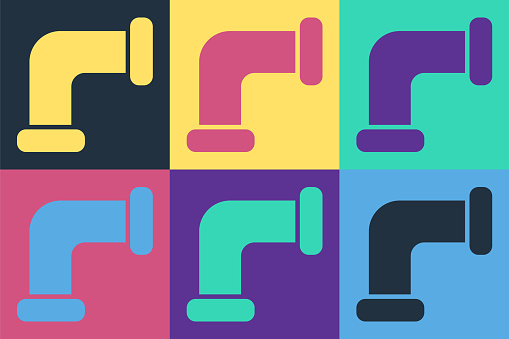Pop art Industry metallic pipe icon isolated on color background. Plumbing pipeline parts of different shapes. Vector Illustration