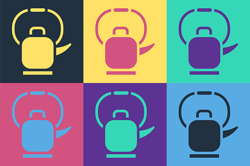 Pop art Kettle with handle icon isolated on color background. Teapot icon. Vector Illustration