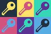 Pop art Key icon isolated on color background. Vector Illustration