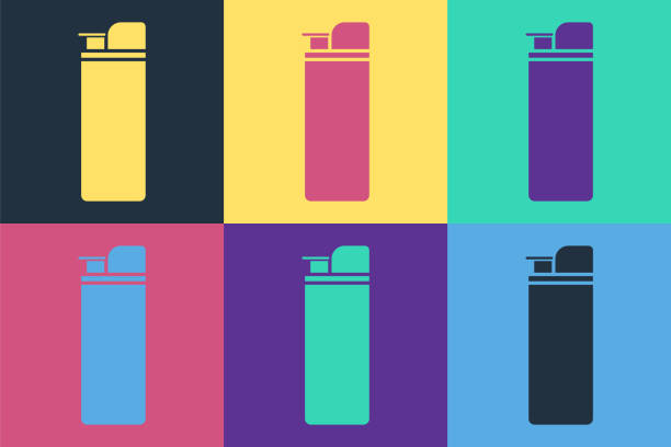 Pop art Lighter icon isolated on color background. Vector Illustration Pop art Lighter icon isolated on color background. Vector Illustration hot pockets stock illustrations