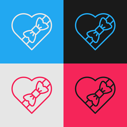 Pop art line Candy in heart shaped box and bow icon isolated on color background. Valentines Day. Vector