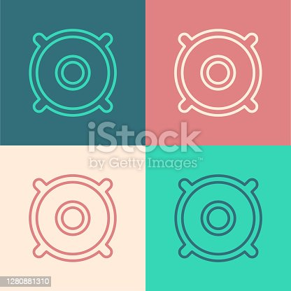 Pop art line Car audio speaker icon isolated on color background. Vector.