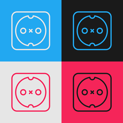 Pop art line Electrical outlet icon isolated on color background. Power socket. Rosette symbol. Vector