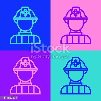 Pop art line Firefighter icon isolated on color background. Vector.