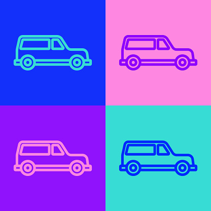 Pop art line Hearse car icon isolated on color background. Vector