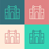 istock Pop art line India Gate in New Delhi, India icon isolated on color background. Gate way of India Mumbai. Vector 1339690508