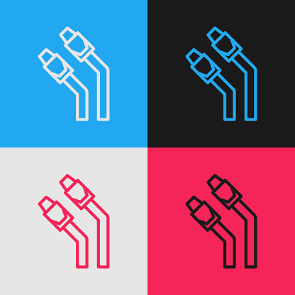 Pop art line LAN cable network internet icon isolated on color background. Vector