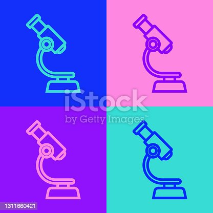 istock Pop art line Microscope icon isolated on color background. Chemistry, pharmaceutical instrument, microbiology magnifying tool. Vector 1311660421