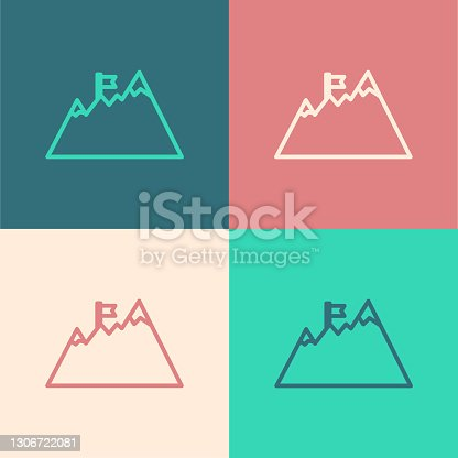 Pop art line Mountains with flag on top icon isolated on color background. Symbol of victory or success concept. Goal achievement. Vector.