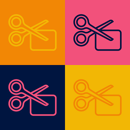 Pop art line Scissors cuts discount coupon icon isolated on color background. The concept of selling in an online supermarket at low prices or half the cost. Vector