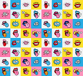 Pop art lips seamless pattern. Vector sexy woman's lips expressing different emotions Smile Half-open mouth, biting lip, licking, smiling, tongue sticking out, conversation. Isolated on color squares