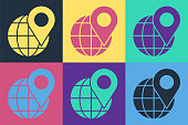 Pop art Location on the globe icon isolated on color background. World or Earth sign. Vector Illustration
