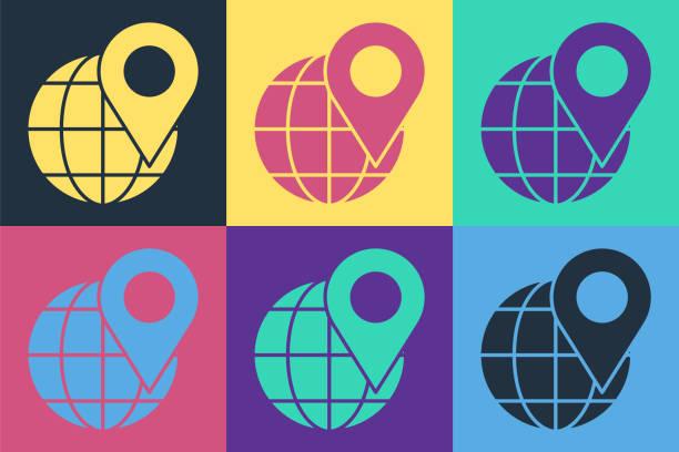 ilustrações de stock, clip art, desenhos animados e ícones de pop art location on the globe icon isolated on color background. world or earth sign. vector illustration - europe points