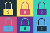 Pop art Lock icon isolated on color background. Padlock sign. Security, safety, protection, privacy concept. Vector Illustration