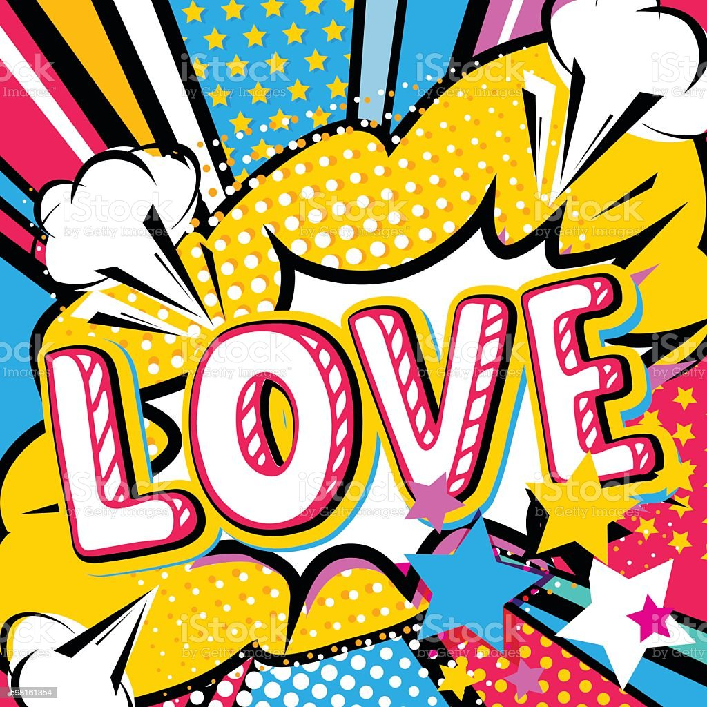 pop art love quote type poster banner stock vector art. Black Bedroom Furniture Sets. Home Design Ideas