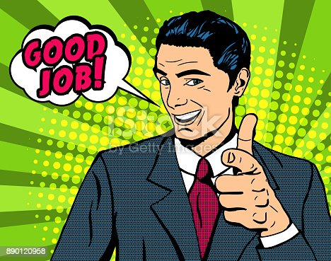 Pop art man pointing finger with speech bubble Good job. Halftone background