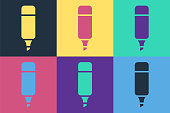 istock Pop art Marker pen icon isolated on color background. Vector Illustration 1268550118