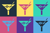 istock Pop art Martini glass icon isolated on color background. Cocktail icon. Wine glass icon. Vector Illustration 1241910272
