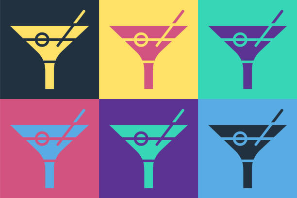 Pop art Martini glass icon isolated on color background. Cocktail icon. Wine glass icon. Vector Illustration Pop art Martini glass icon isolated on color background. Cocktail icon. Wine glass icon. Vector Illustration alcohol drink clipart stock illustrations