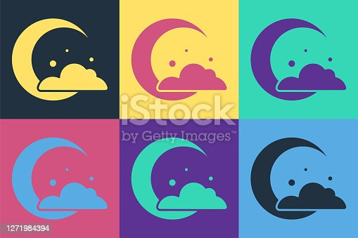 Pop art Moon and stars icon isolated on color background. Cloudy night sign. Sleep dreams symbol. Night or bed time sign. Vector.