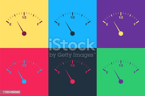 Pop art Motor gas gauge icon isolated on color background. Empty fuel meter. Full tank indication. Vector.