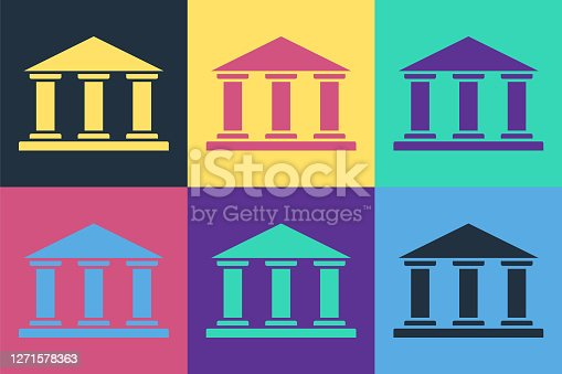 Pop art Museum building icon isolated on color background. Vector Illustration