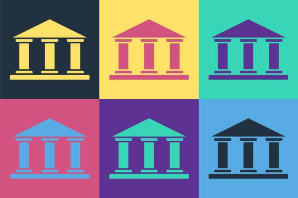 ilustrações, clipart, desenhos animados e ícones de ícone de construção do museu de arte pop isolado no fundo de cores. ilustração vetorial - banco edifício financeiro