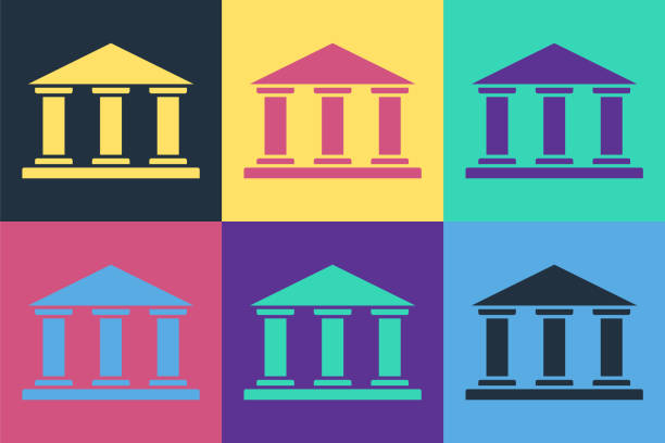 Pop art Museum building icon isolated on color background. Vector Illustration Pop art Museum building icon isolated on color background. Vector Illustration architecture clipart stock illustrations